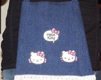Denim Hello Kitty Girls Bag With Lace Trim Hobo Hippie Shoulder Bag Made From Recycled Jean Leg