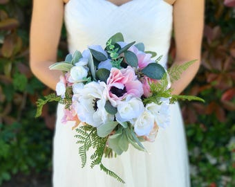 Blush & White Garden Boho Bouquet, Bridal Bouquet, Blush Wedding Bouquet, Modern Bouquet, Rose Bouquet, Ranunculus Bouquet, Pink Roses, Silk