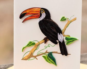 Menagerie of Quilled Greeting Cards: Tiger, Elephant, Flamingo, Owl, Parrot, Humming Bird, Monkey, Toucan
