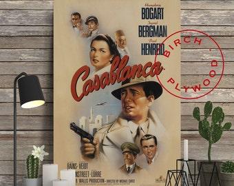 CASABLANCA - Poster on Wood, Humphrey Bogart, Ingrid Bergman, Print on Wood, Christmas Gift, Wood Block Print, Wood Wall Decor