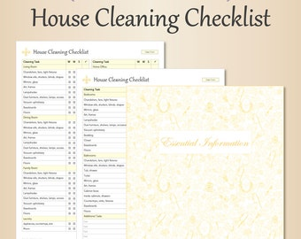 House cleaning list etsy for Home renovation checklist pdf