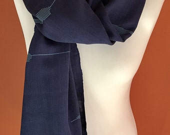 Wide navy summer scarf, patterned evening shawl, lightweight beach cover up, mens long scarf, wedding shawl