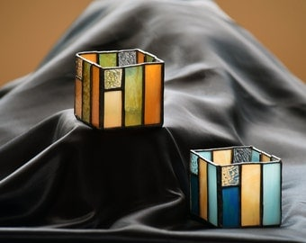 Unique Prairie Style Square Stained Glass Candleholder -- READY TO SHIP