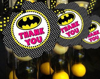 Batgirl Bat Girl Superhero Favor Tag Thank You Sticker Baby Shower Party Printable - Party Designs Co