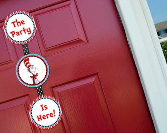 Dr Seuss Welcome Door Sign Baby Shower Party Printable -  Party Designs Co