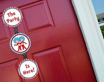 Dr Seuss Thing 1 & 2 Welcome Door Sign Baby Shower Party Printable -  Party Designs Co