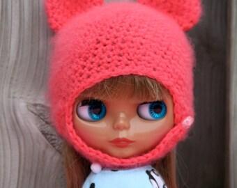 Fluffy pink Blythe bear hat
