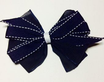 Navy Blue Hair Bow / Blue Hair Clips / Blue Girls Hair Bow