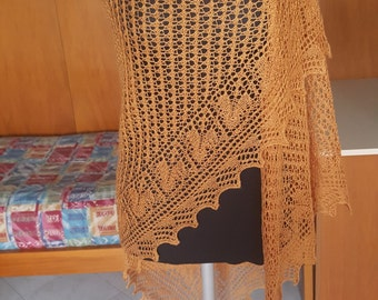 Large dark gold shawl with lace edge English