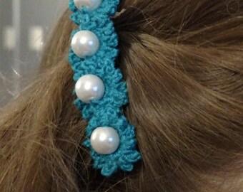 Hair Clip, Lace Crochet Beaded Mini Flower Hair Clip, Flower hair clip, Barrette, Flower clip, Beaded hair clip