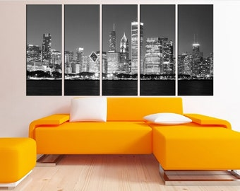 Chicago Skyline Wall Art chicago wall art | etsy