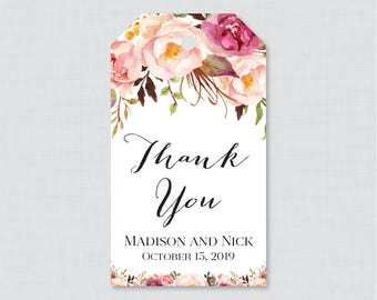 Printable OR Printed Wedding Favor Gift Tags - Pink Floral Favor Tags for Wedding, Personalized Wedding Gift Tags, Thank You Tag 0004