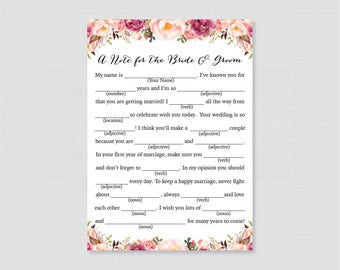 Printable Wedding Mad Libs - Pink Floral Wedding Mad Libs Cards for Advice - Rustic Pink Flower Wedding Reception Game/Activity 0004