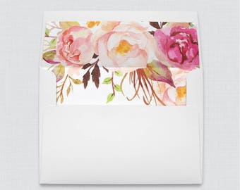 Wedding Envelopes with Liners - White A7 Envelopes with Pink Floral Envelope Liners, Rustic Pink Flower Envelope Liners 0004