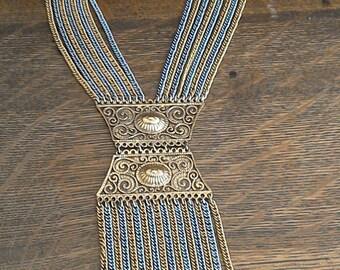 20% off Vintage Signed GOLDETTE N.Y. Multi Color Multi Layer 8 Strand Chain Etruscan Necklace //  Tassel Fringe Filigree Necklace