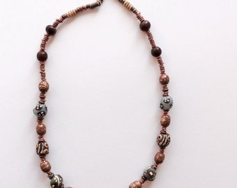 Handpainted Krobo beads with Ethiopian copper and bone