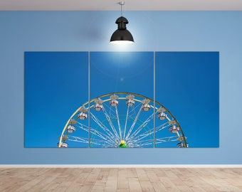 Coachella - Carnival Ferris Wheel with Clean Sky Leather Print/Large Wall Art/Large Coachella Print/Large Wall Decor/Better than Canvas!