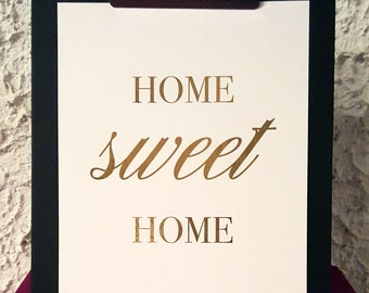 "Real foil | Print | Wall Art | Home | Apartment | Housewarming | ""Home Sweet Home"""