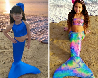 Girls mermaid tail with monofin  /swimmable / swimwear / swimming costume / colors /