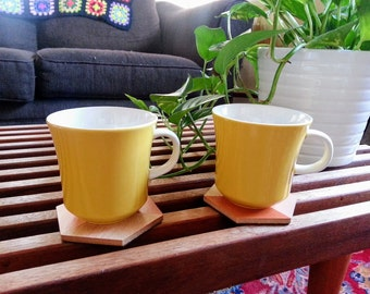 Cheery Pair of Retro Yellow Mikasa Mugs - Made in Japan - 1960s - Vintage Coffee Cups