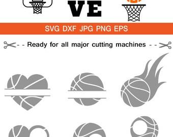 Basketball SVG Cut Files, Basketball Love SVG, Basketball ball Monogram svg frame clipart Cricut download svg jpg png dxf Silhouette