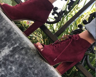 Burgundy Suede Toe LaceUp