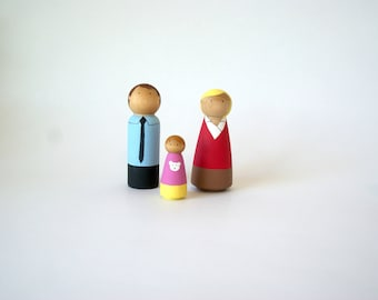 Peg doll family, Peg Doll Family, peg doll, Wooden Peg Dolls, Custom Peg Family, Family peg doll, Peg Dolls, Peg People, Wooden Dolls