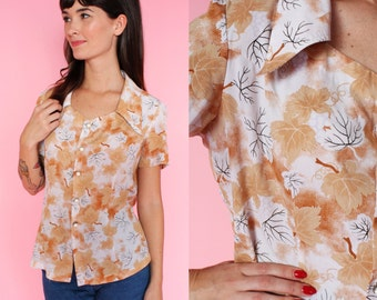 70s Short Sleeve Leaf Patterned Oversized Collar Blouse XS/S