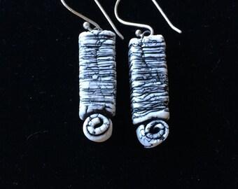 Geometric Black and White Porcelain Earrings