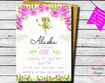 Fairy invitation, Gold fairy birthday invite, Fairy 1st birthday, First birthday, Glitter Fairy Birthday, Fairy Birthday Party, Fairy Party