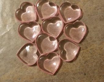 Pink Hearts of Love Set of 10 Plastic