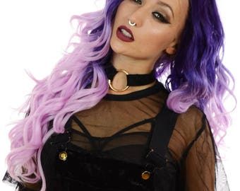 Two Tone Purple Pink Ombre Wavy Lace Front Wig