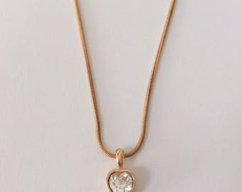 Vintage 1970's AVON Heart Faceted Rhinestone Pendant Gold Necklace