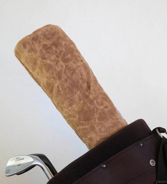 Golf Club Covers, Golf Head Covers, Golf Driver Head Cover, Golf Headcover, Golf Accessory, Brown Waxed Canvas Golf Driver Headcover
