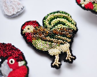 brooch, handmade brooch, rooster embroidery, brooch rooster, chiken, Unique Rooster brooch, embroidered jewelry