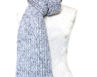 Super Chunky Knitted Scarf // Long Warm Womens Scarf // Grey Chunky Knit Scarf // Unique Handmade Scarf // Long Knitted Scarf