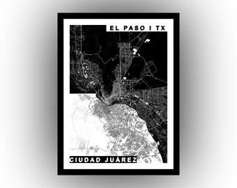 City of El Paso and Ciudad Juárez at the USA-Mexico border | wall art | map art | poster | high resolution digital map | printable map |