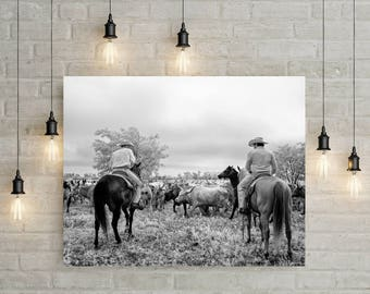 Cowboys and Longhorn Steer Photo, Black White Photo, Farmhouse Modern Wall Art, Cows, Photography, Country Cabin, Southwest