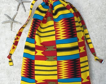 beach bag / laundry bag - African fabric red yellow blue and black - cotton bag
