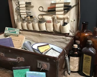 Antique Doctors Case with Surgical Pieces