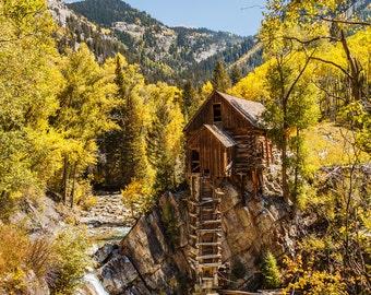 Colorado Art Crystal Mill Marble Colorado Yellow Aspen Fine Art Nature Photography Gallery Wrap Canvas