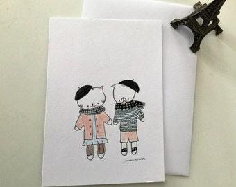 "postal card for girl ""Choumi et Michou in Paris"""