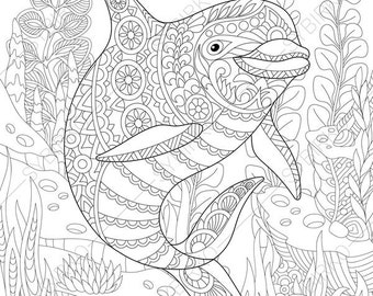hard dolphin coloring pages - photo#18