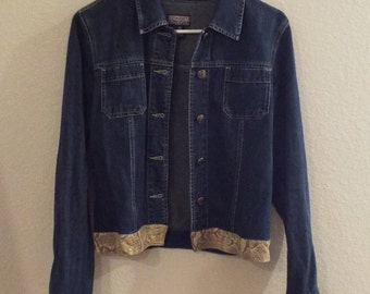 Vintage Old School Denim Jacket with faux snake skin trim Ladies Small