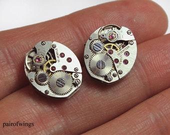 Earrings earring earring steampunk clockwork oval silver