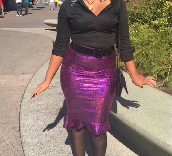 Sea Witch Purple Pencil Skirt