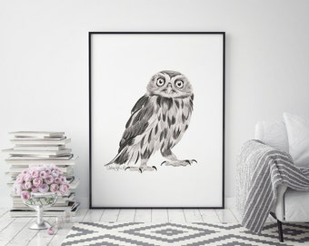 Owl Art Print, Owl Art, Owl Painting, Bird Print, Owl Print, Owl Wall Art, Owl Decor, Bird Art, Nursery Art, Owl Poster, Owl Drawing, Owls