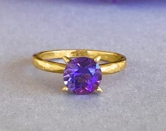 Natural Amethyst Yellow Gold Ring, Hammered Sterling Silver Round Amethyst Genuine Stone Solitaire Wedding Engagement & Promise Ring