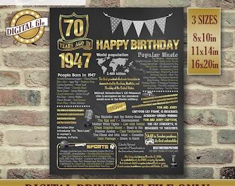 70th Birthday Chalkboard, 1947 Birthday Gift, Printable DIGITAL FILE Only, JPG, Chalkboard Poster, 70th Birthday Gift, 70th Birthday Poster
