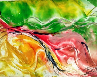 "Encaustic abstract film ""Flow"""